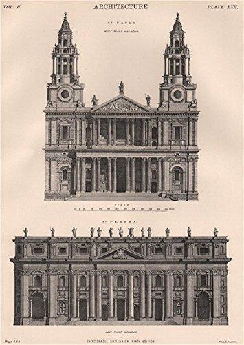 CATHEDRALS. St. Paul's, London west front. St. Peter's, Rome east front - 1898 - old print - antique print - vintage print - London art prints