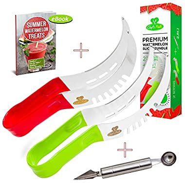 Chef's Path Premium 2-PACK Watermelon Slicer Corer Server Tongs Bundle,As Seen On TV,Soft Rubber Grips,Cake Melon Cantaloupe Cutter,FREE 2in1 Melon Scoop/Baller&Fruit Carving Knife,Summer Gift Ebook