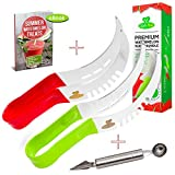 2-PACK Watermelon Slicer Complete Bundle - Melon Tongs Corer & Server,As Seen On TV,Cake Cutter,Soft Grip Handles,FREE 2in1 Melon Scoop/Baller & Fruit Carving Knife,Bonus Ebook,Perfect Gift