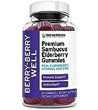 Premium Fresh Elderberry Gummies | Fresh Pectin, Zinc & Vitamin C | Big Immune System Booster - Real Black Elderberries, NO Gelatin, NO Fructose, Gluten Free | Immune Support & Berry Delicious* (1)