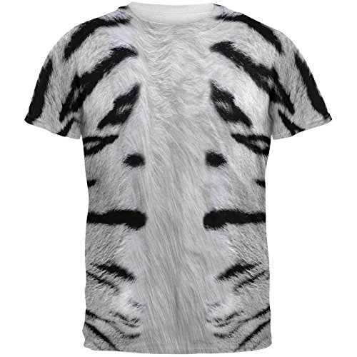 White Siberian Tiger Costume All Over Adult T-Shirt - Small