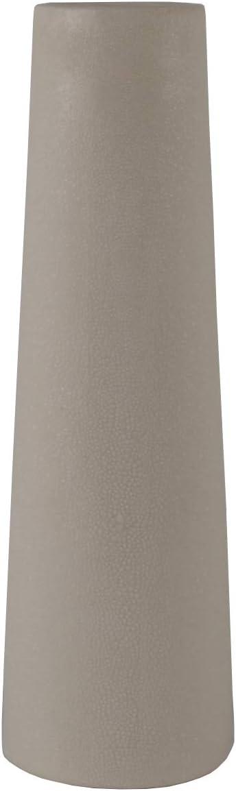 Flora Bunda Mid Century 14 inch H Leather Finish Ceramic Vase Planter,Cream