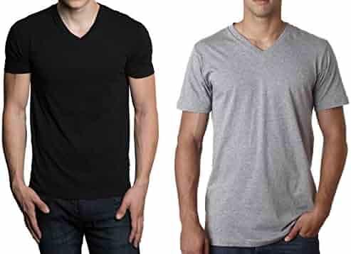 Fruit of the Loom Men's Tucked V-Neck T-Shirt (Black & Grey, XX-Large)