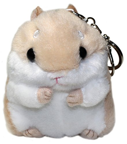 - Lucore Happy Hamster Plush Stuffed Animal Keychain - Hanging Toy Doll, Lucky Charm & Ornament (Beige)