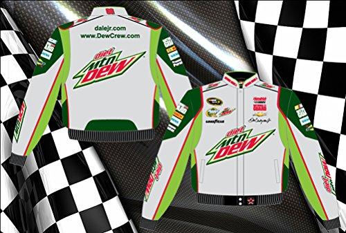 Dale Earnhardt Jr. Diet Mountain Dew Mens Grey Twill Nascar Jacket by JH Design - Jackets Racing Sr