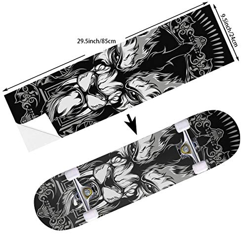 Totem Longboard - STREET FFX Fashion Funny Skateboard Cruiser Deck and Balance Board Stickers Decals Grip Tape - 9.5 x 33.5 Inches - Dark Cool Lion Totem Black