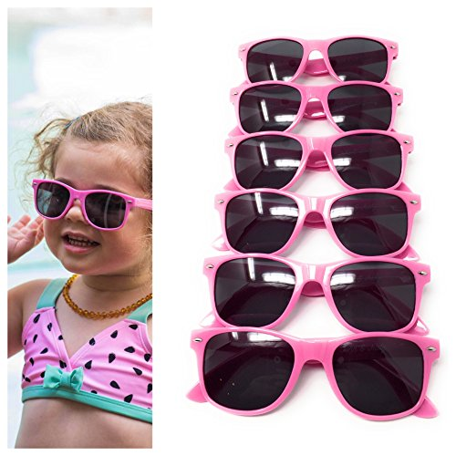 Pink Kids Sunglasses (6 Pack) – 100% UV Protection for The Beach, Pool and Outdoor Activities - Reduces Glare and Eye Strain - Wayfarer Style Glasses - Best For Party - Pack 6 Party Beach