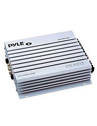 """16 25 'Bay Boat: Receptor marino estéreo Pyle Bluetooth, 4 altavoces Pyle de 150 vatios y 6.5 """"(blanco), amplificador marino de 4 canales impermeable Pyle, kit de instalación de amplificador Pyle, cable de altavoz calibre 18 pies 50 pies, antena"""