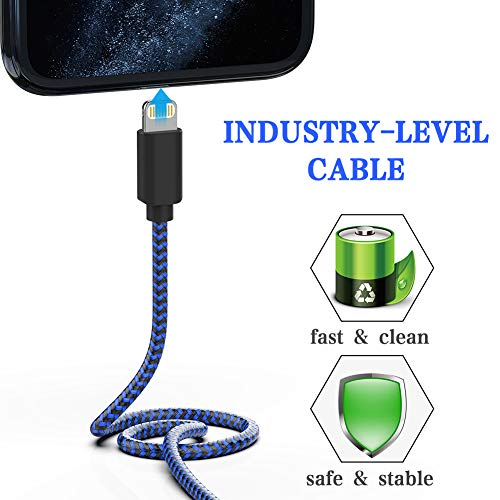 MFi Certified iPhone Charger, KRISLOG [3/3/6/6/10ft, 5Pack] iPhone Charger Cable Lead Nylon USB Fast Charging Compatible iPhone 11 Pro XS Max X XR 8 7 6s 6 Plus iPad