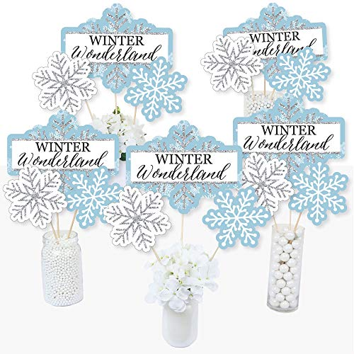 Winter Wonderland - Snowflake Holiday Party & Winter Wedding Party Centerpiece Sticks - Table Toppers - Set of 15]()