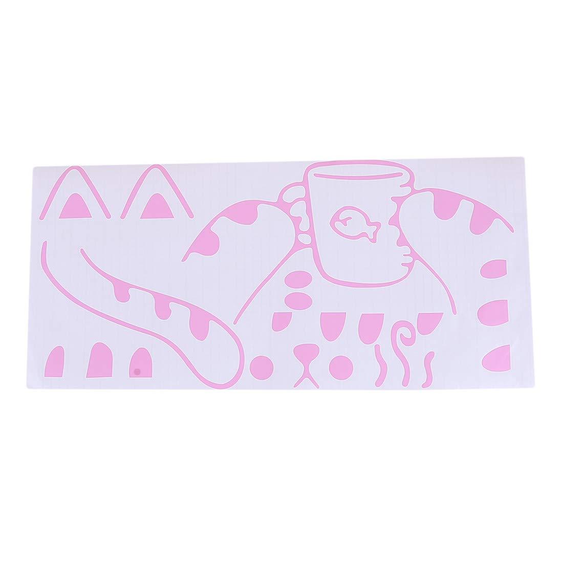 Pink Yingwei VWH Cat Wall Sticker Mural Art Decor for Kids Children Bedroom Decorartion