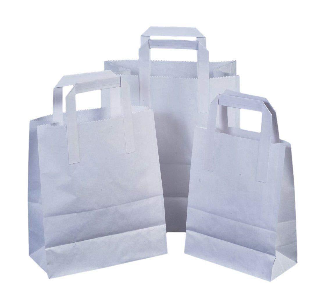 50 x papel de blanco alimentos/Takeaway/bolsas de papel fiesta con asas planas 16e9b7