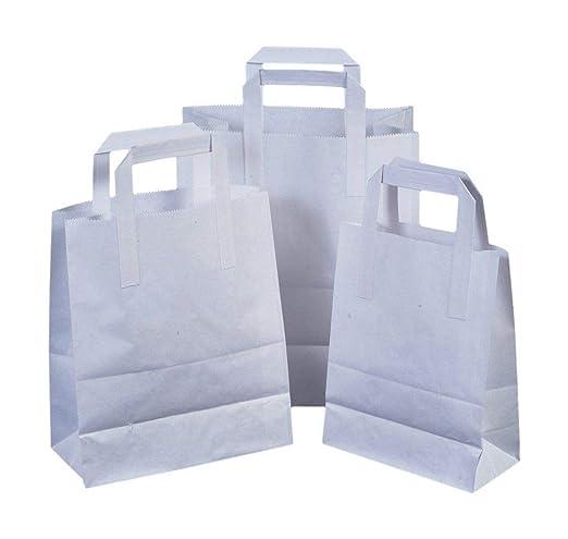 Bolsas de papel plegables con manijas planas - Grande: 25 cm x 30cm x 14cm
