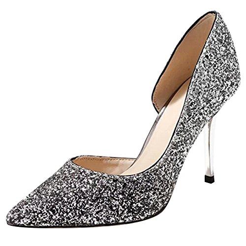 Jamron Women Classy Glitter Paillettes Bridal Shoes Stylish Pointed Toe Flat/Stiletto Pumps Evening Dress Shoes Silvery-Stiletto C3gzxSTKHN