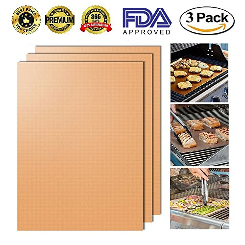 Copper Grill Mat Set of 3 - Non-stick BBQ Grill & Baking Mats - FDA Approved, PFOA Free, Golden Grill Mats & Bake Mats Reusable & Easy to Clean - grill mat serve kitchen & Outdoor