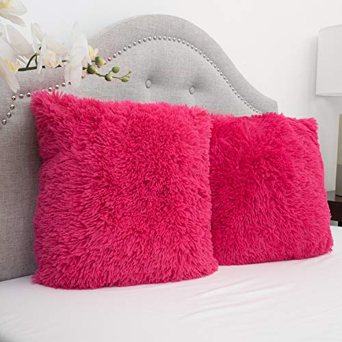 Hot Pink Plush - Sweet Home Collection Plush Pillow Faux Fur Soft and Comfy Throw Pillow (Pack of 2), Hot Pink