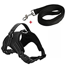 kiwitatá Dog Vest Halter Harness Leashes Set Adjustable with Handle Soft No-Pull Safety Padded Harness Pet Puppy Training Hunting Walking Heavy Duty Vest Collar Harness for Large/Medium/Small Dogs (XL, Black)