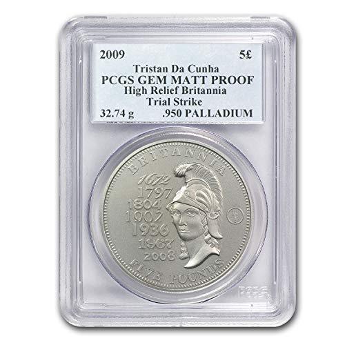 2009 UK Tristan Da Cunha Palladium £5 MATTE Proof PCGS (.950 Fine) 1 OZ Fine PCGS ()
