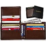 KALMORE Men's RFID Blocking Flip-ID Window Travel Bifold Genuine Leather Wallet - in Gift Box (Full-Grain Leather Brown)
