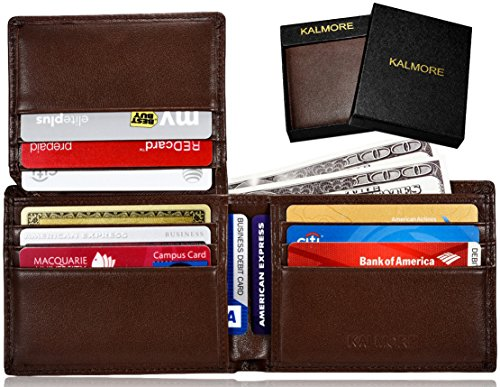 KALMORE Men's RFID Blocking Flip-ID Window Travel Bifold Genuine Leather Wallet - in Gift Box (Full-Grain Leather Brown) ()