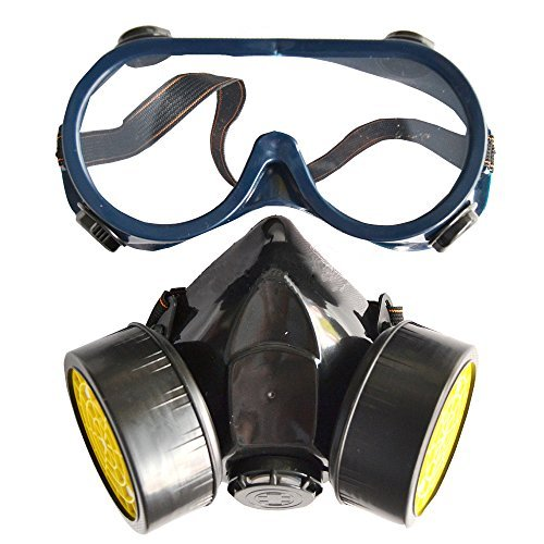 [Joyutoy Safety Mask Industrial Gas Chemical Anti-Dust Paint Respirator Mask Goggles Set] (Halloween Goggles)