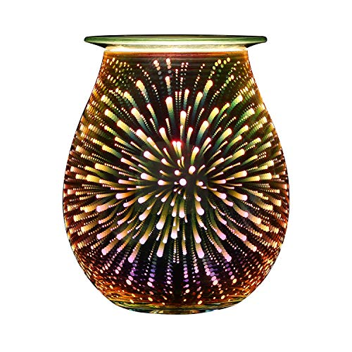 (Electric Oil Warmer COOSA 3D Effect Starburst Fireworks Glass Wax Tart Burner Fragrance Candle Warmer Incense Oil Night Light Aroma Decorative Lamp for Gifts, Decor for Home Office)