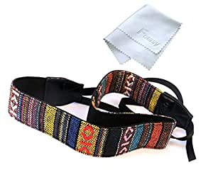 Fotasy VNH Multi-Color Neck Strap & Cleaning Cloth for Canon Fuji Nikon Olympus Panasonic Pentax Sony Cameras