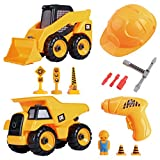 CoolToys Custom Take-A-Part Deluxe Construction Playset | Interactive Skid Steer Loader Construction Excavator Truck and Tipper Dumper Truck includes Screwdriver, 3 Tip Tools and Electric Toy Drill
