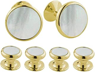 product image for David Donahue Men's Yellow Brass Mother of Pearl Cufflinks Stud Set (SS855309)