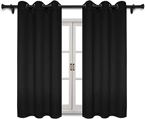 SUO AI TEXTILE Blackout Curtains Home Fashion Thermal Insulated Curtain Grommet Top Blackout Curtains for Living Room Bedroom 42×63 Inch Black 2 Curtain Panels