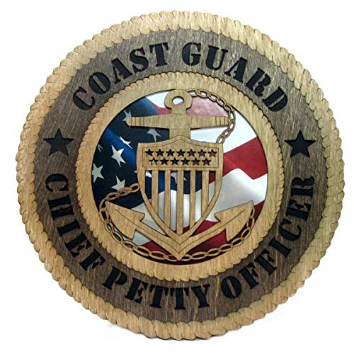 Orange Kat Coast Guard Chief Petty Officer Plaque with American Flag