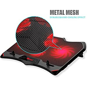 Laptop Cooling Pad, Vencci Laptop Cooler Chill Mat with 4 Quiet Fans USB Powered Adjustable Mounts Stand with LED Lights (10-17inch)