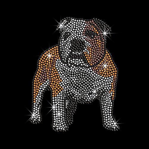 (Iron on Hot Fix Rhinestone Motif French Bulldog transfers 6