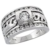 Mens Sterling Silver Cubic Zirconia Double Panther Solitaire Ring Brilliant Cut 1/2 inch wide, size 9