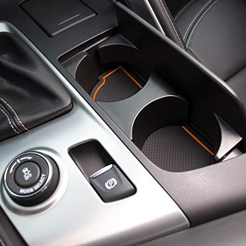 Custom Fit Cup, Door, Console Liner Kit for Chevy C7 Corvette 2019 2018 2017 2016 2015 2014 (Orange Trim)