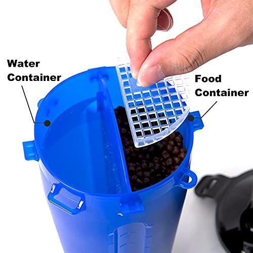 BrokSilent Dogs Travel Water Bottle, Leak Proof Puppy Bottle Water Dispenser with Bowls for Walking (White)