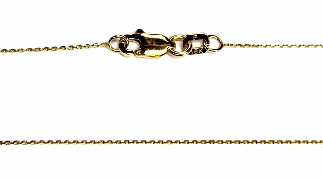 """18Kt 18K White Solid Gold 16/"""" 18/"""" 20/"""" 1.4mm Cable Necklace Chain Lobster"""