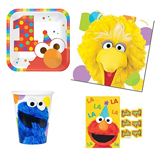Sesame Street Elmo's 1st birthday Party Supplies Pack -8 guests - small plates, napkins, cups, party (Sesame Street Party Big Bird Lunch Napkins)