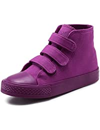 3f934b1b1bf9 High Top Canvas Shoes Kids Toddler Girls Boys Sneakers Lace up School Board  Shoes Purple