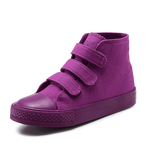 MK MATT KEELY High Top Canvas Shoes Kids Toddler Girls Boys Purple Sneakers Hook Loop School Board Shoes(Toddler Little/Big Kids) US 12 M Little Kid=Insole length 19cm Purple