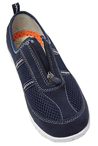 X EEE para mujer extra anchos para hombre tipo libro con función de zapatos de bombas de malla con zapatillas de con cremallera azul marino
