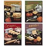 kitchen italian wall art - Set of 4 Pasta Prints Italian Kitchen Spaghetti Ravioli Daphne Brissonnet 8x10