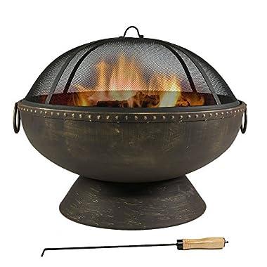 Sunnydaze Firebowl Fire Pit with Handles, 30 Inch Diameter
