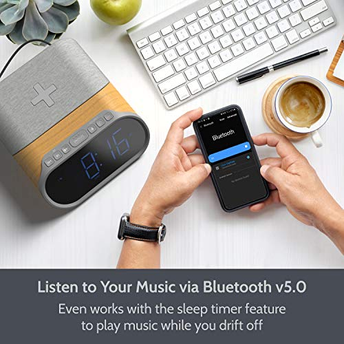Digital Alarm Clock Radio, Bedside Clock Bluetooth Speaker 10W Stereo Sound with Fast Qi Wireless Charging, 2 USB Ports, Dual Alarm, FM Radio, Nature Sounds and Large Dimmable LED Display Clock