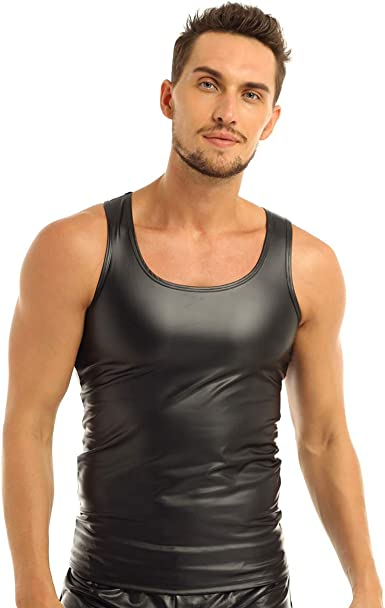 Mens Faux Leather Wet Look T-shirt Tank Tops Vest Stretchy Undershirt Clubwear