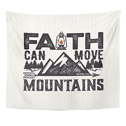 Emvency Tapestry Biblical Christian Lettering Faith Can Move Mountains Matthew 17 Home Decor Wall Hanging for Living Room Bedroom Dorm 50x60 inches