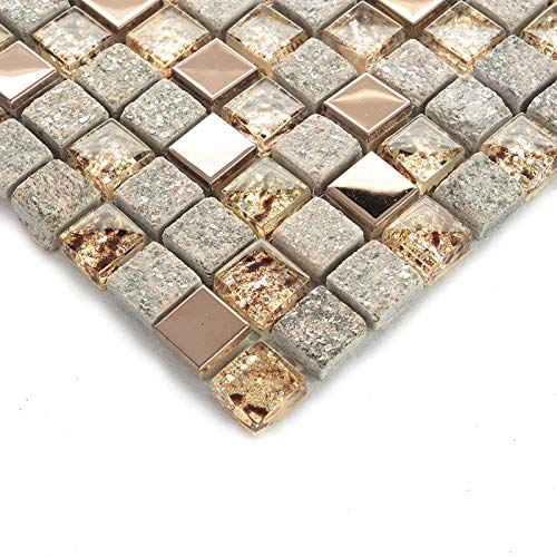 Hominter 5-Sheets Bathroom Wall and Floor Tile, Gray Stone and Glass Tile Backsplash, Rose Gold Stainless Steel Tiles, Metallic Mosaic Tile with Crystals - Box Tile Rose