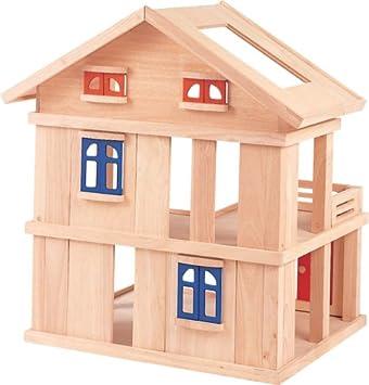 Plan Toys Jouet En Bois Maison De Poupees Avec Terrasse Amazon Fr Jeux Et Jouets