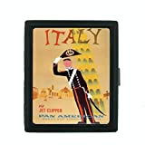 Metal Cigarette Case Vintage Poster D-085 Italy Via Jet Clipper Pan American World's Most Experienced Airline