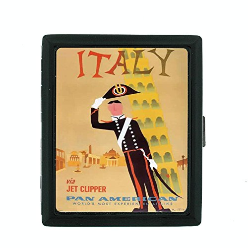 Metal Cigarette Case Vintage Poster D-085 Italy Via Jet Clipper Pan American World's Most Experienced Airline by Perfection In Style